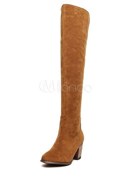 Sobre las rodilla botas de mujer superior ante Micro elegante - Milanoo.com