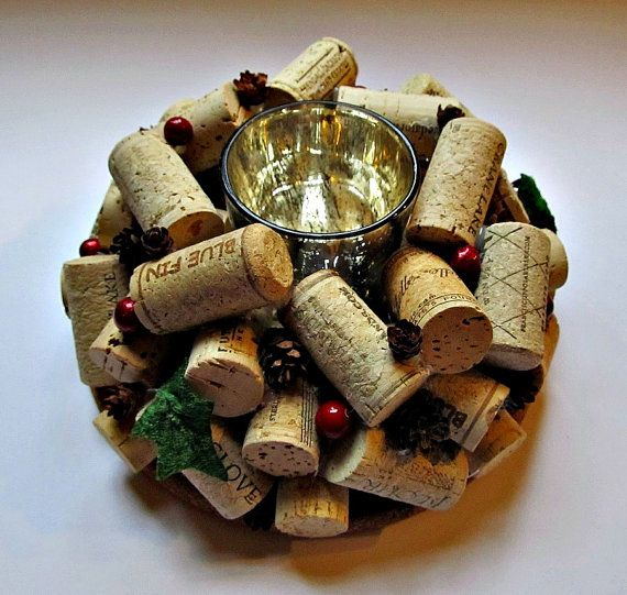 This lovely wine cork candle holder will be a great addition to your Christmas decor! It is decorated with tiny pine cones, faux berries and