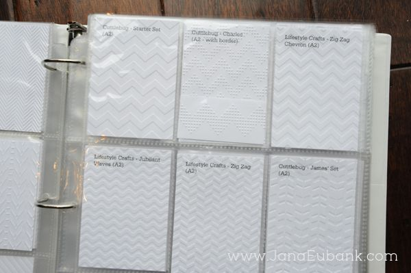 Jana Eubank created an Embossing Binder as a way to organize her embossing folders and remember which ones she has.