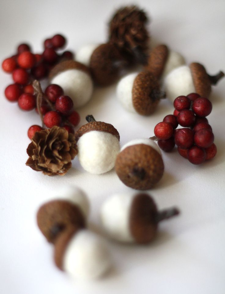 Felted Acorns - set of 10 in snow white