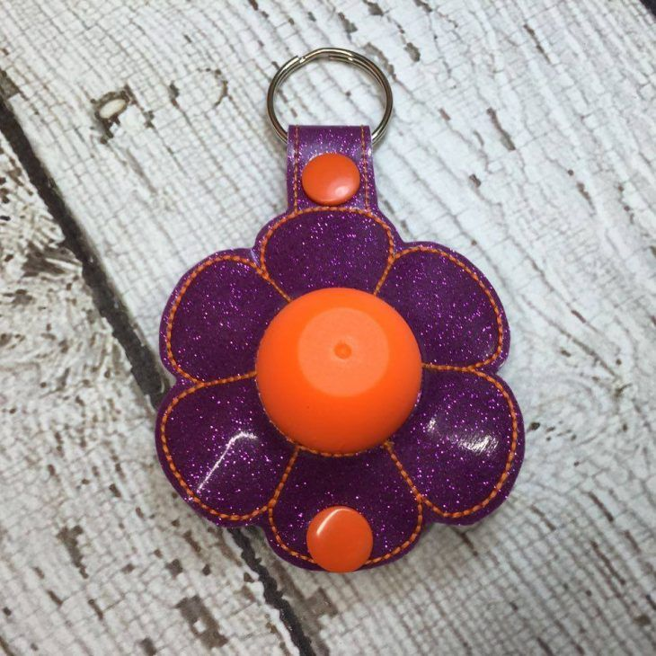 4 x 4 ITH FLOWER Sphere/Egg Lip Balm Holder – Snap Tab – Key Fob – DIGITAL Embroidery Design