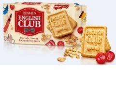 Печенье English Club с овсяными хлопьями, мёдом и клюквенным соком 112 г Рошен   Печиво English Club з вівсяними хлоп'ями,  медом і журавлиним соком 112 г Рошен