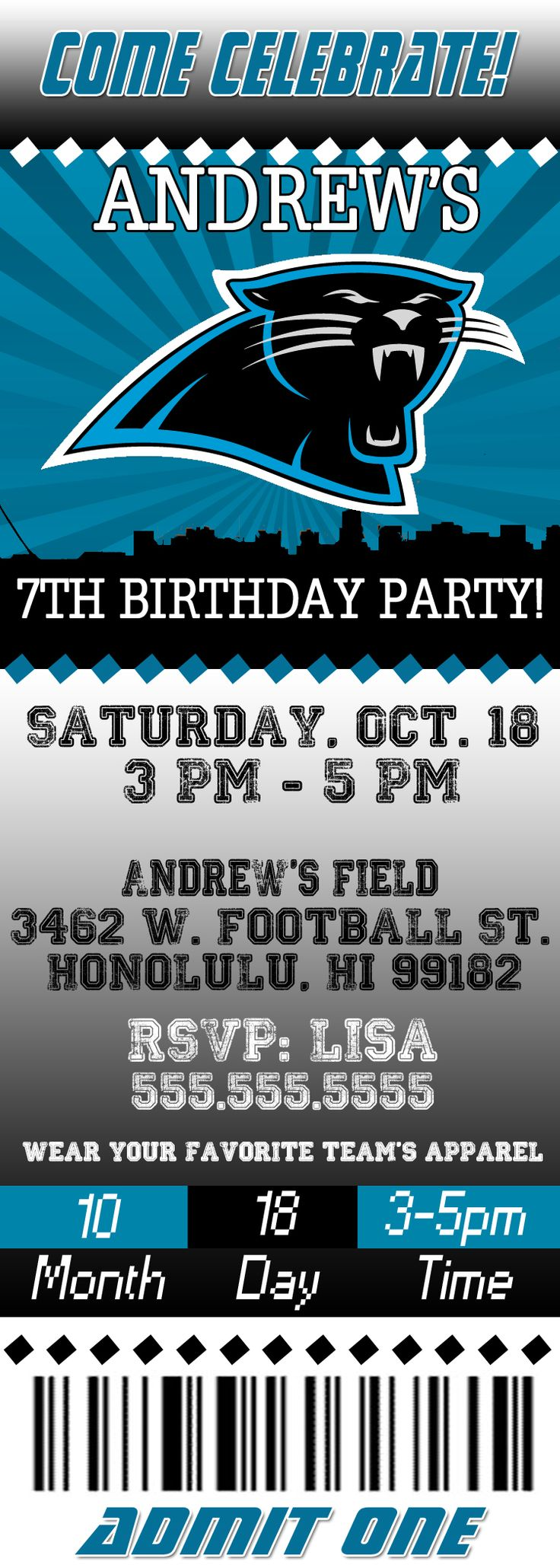 NFL Carolina Panthers Ticket Birthday Invitation