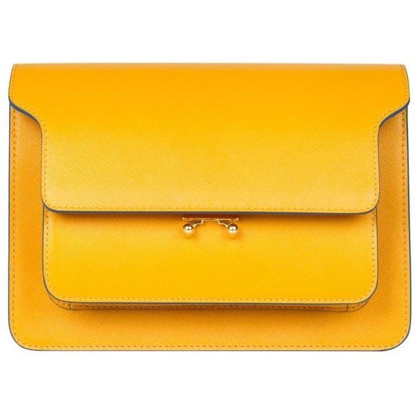 Marni Trunk leather bag (117.285 RUB) ❤ liked on Polyvore featuring bags, handbags, shoulder bags, yellow, marni handbags, real leather handbags, real leather purses, leather shoulder bag and genuine leather shoulder bag
