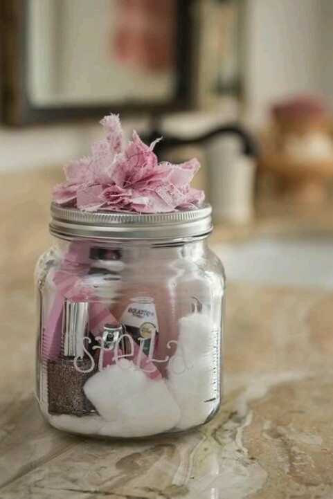 Looking for a cute gift for your bridesmaids? How about a manicure in a jar? Fill a mason jar with nail polish, a file, polish remover, cotton balls, etc....