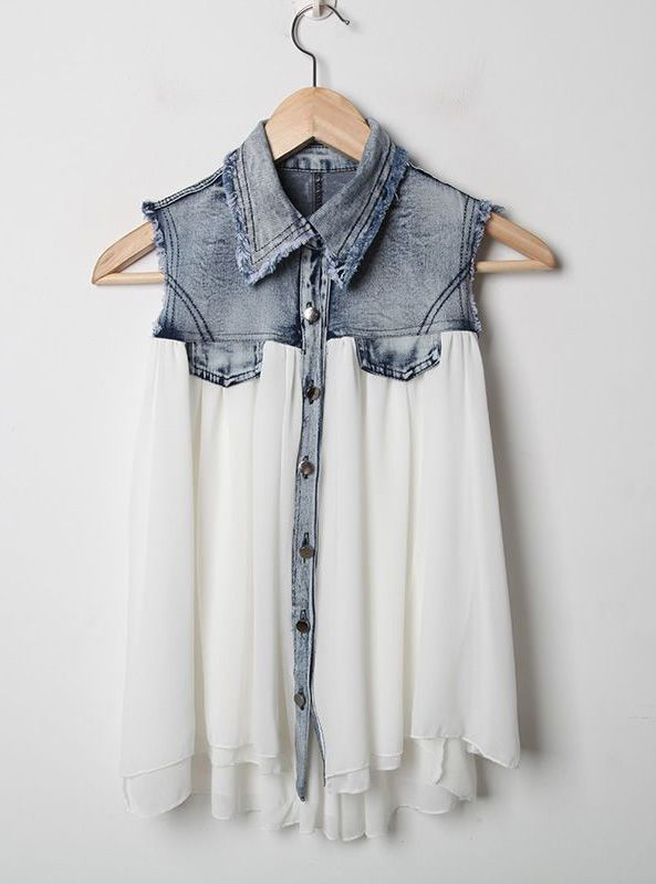 $38 Stiching Denim Lapel Sleeveless White Chiffon Shirt