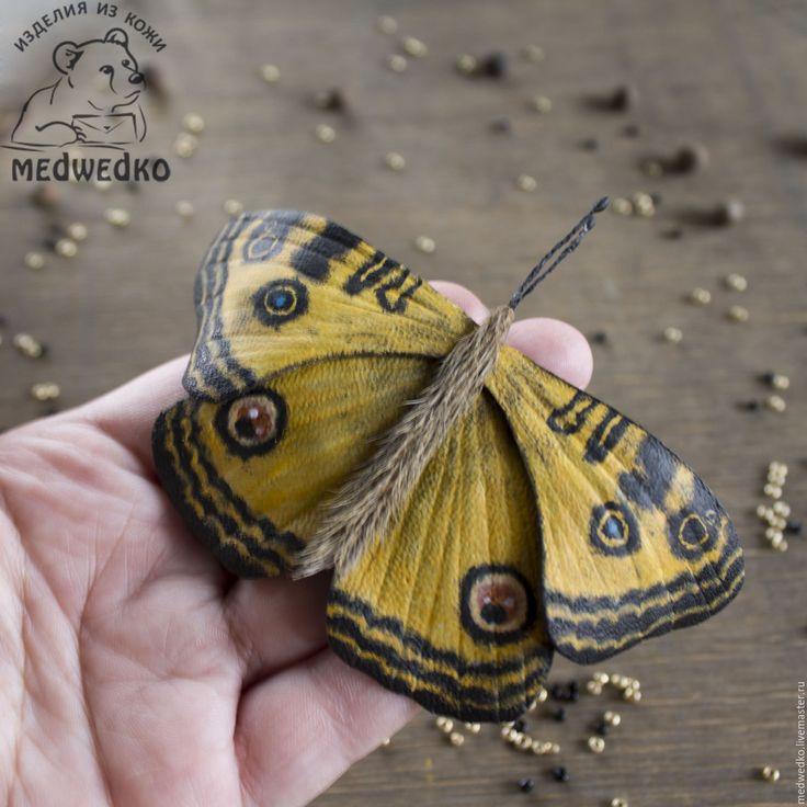 Купить Брошь из кожи Бабочка Peacock pansy - желтый, бабочка, брошь, брошь бабочка