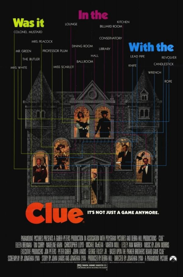 Clue (1985) Tim Curry, Eileen Brennan, Madeline Kahn, Leslie Ann Warren, Martin Mull and Christopher Lloyd
