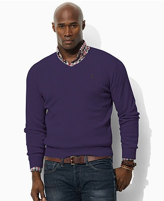 Polo Ralph Lauren Big and Tall Sweater, Pima Cotton V Neck Sweater - Mens Sweaters - Macy's