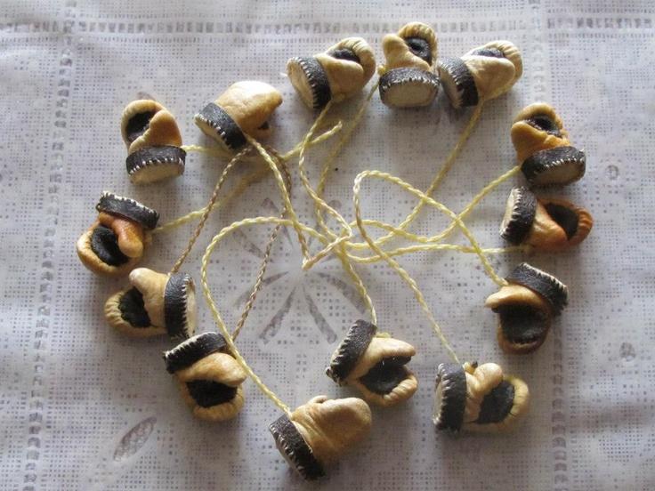 Inuit made miniature sealskin mitts by Malaya Kango