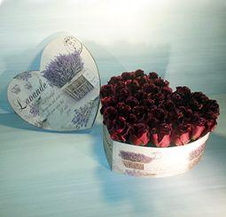 QM162/ Queen Roses vörös selyemrózsa rózsadoboz szív alakú