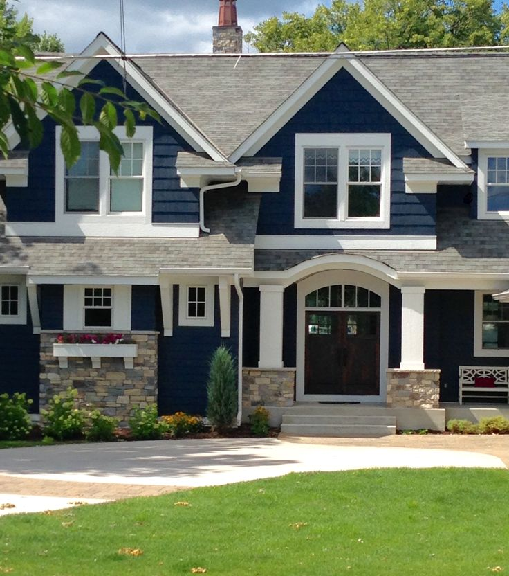 Exterior Home Colors 2019: Navy House Exterior
