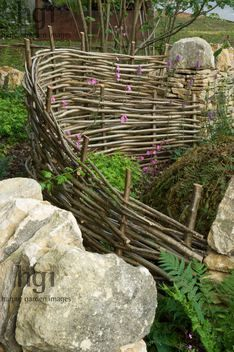 dry, stone, wall, woven, hazel, hurdle, fence, natural, wild ,