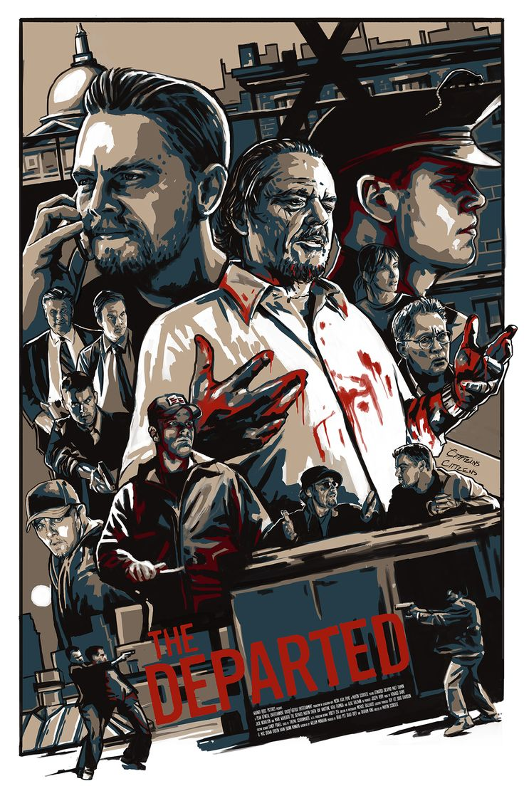 The Departed - great illustration featuring all the cops, gangsters rats and moles #GangsterMovie #GangsterFlick