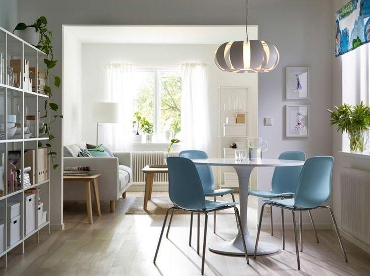 sala da pranzo con tavolo rotondo Ikea Docksta