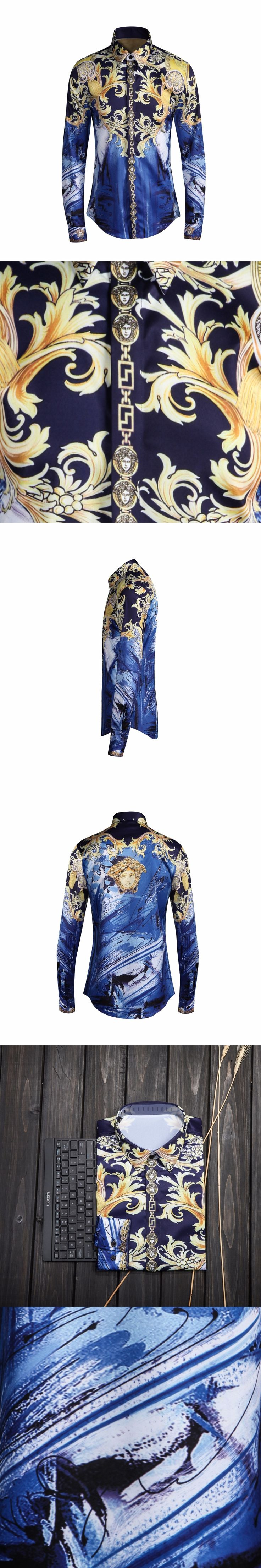Luxury Shirt Men Dress 2017 New Arrival Autumn quality Shirts 3D Printed Cotton Long Sleeve Clothing Slim Fit camisa masculina