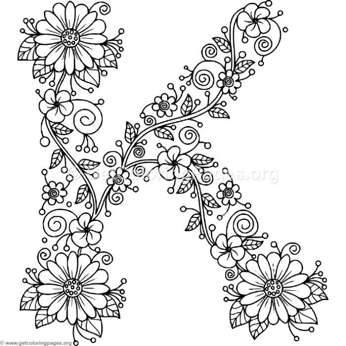 Free Instant Download Floral Alphabet Letter K Coloring Pages