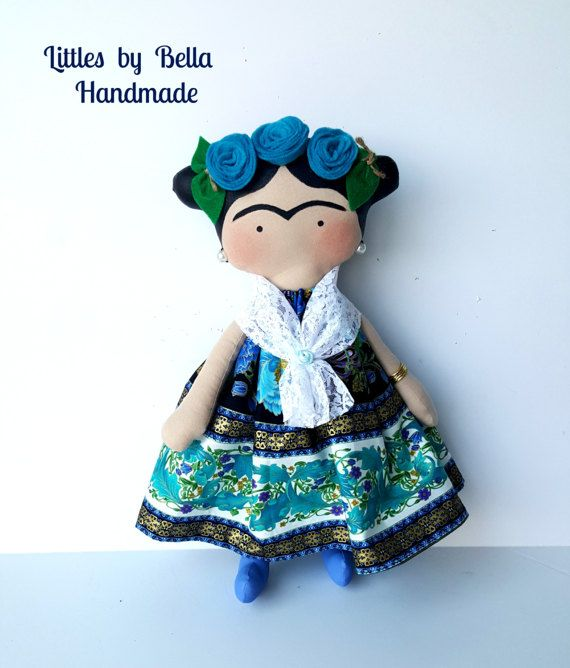 Made to order- doll will be done in 2-5 business days. Little Frida. You can choose the fabric for the dress. Here I present the version Frida Kahlo children style, the Mexican painter known for his portraits, reflecting their loneliness in pure art. this doll is a tribute to her