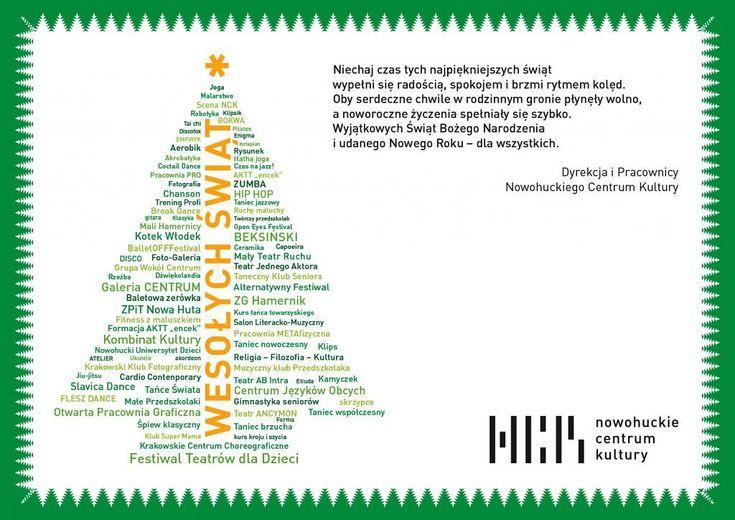 Niechaj czas tych najpiękniejszych świąt wypełni się radością spokojem i brzmi rytmem kolęd. Oby serdeczne chwile w rodzinnym gronie płynęły wolno a noworoczne życzenia spełniały się szybko. Wyjątkowych Świąt Bożego Narodzenia i udanego nowego roku  dla wszystkich. #encek #świeta #życzeniaświąteczne #nowohuckiecentrumkultury #nck #ncknh #krakow #kulturakrk