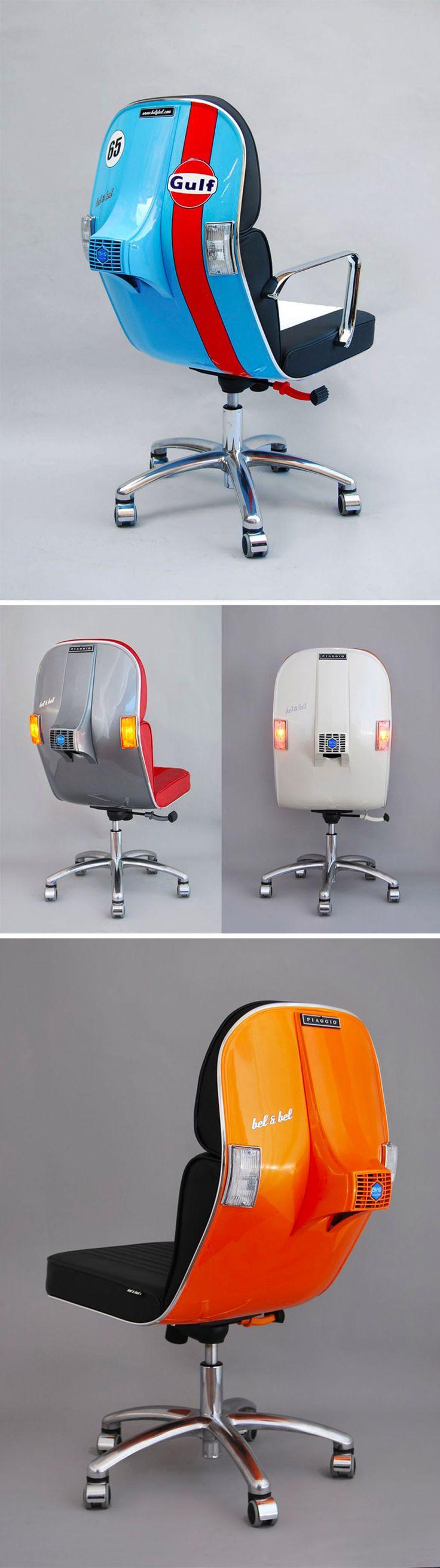 Vintage Vespa Parts Recontextualized as Sleek Modern Office Furniture