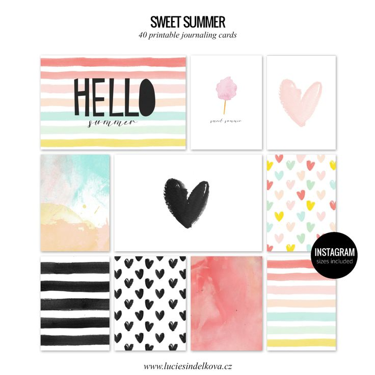 SWEET SUMMER Printable journaling cards for Project Life and scrapbooking-40pcs by LucieSindelkova on Etsy