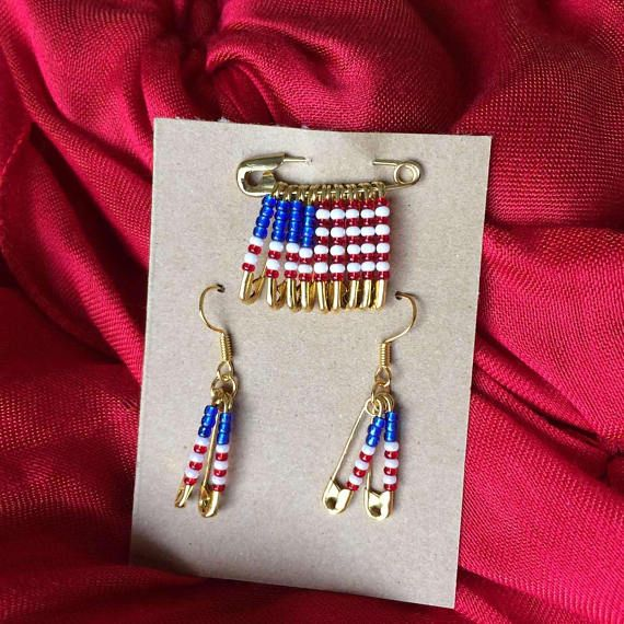US Flag Pin and Safety Pin Earring Set Teacher Gift Safety Pin Jewelry Earrings Veterans Day USA Beaded Flag Pin Handmade