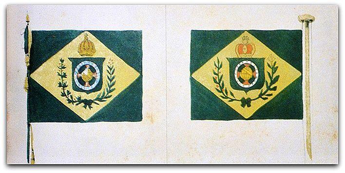 Bandeira do Império do Brasil, por Debret. Uma de suas obras serviu como base para definir as cores e formas geométricas da atual bandeira republicana, adotada em 19 de novembro de 1889. http://sergiozeiger.tumblr.com/post/116835074148/jean-baptiste-debret-18-4-1768-paris-11-6-1848 Bandeira As arrnas imperiais do Brasil, pintadas na bandeira, consistem em um escudo verde encimado por uma coroa imperial, no meio do qual uma esfera celeste dourada enfeixa a cruz da ordem de Cristo. É e...