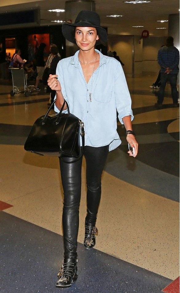 Lily Aldridge in Chloe Susanna Boot, leather skinnies, and denim oxford.