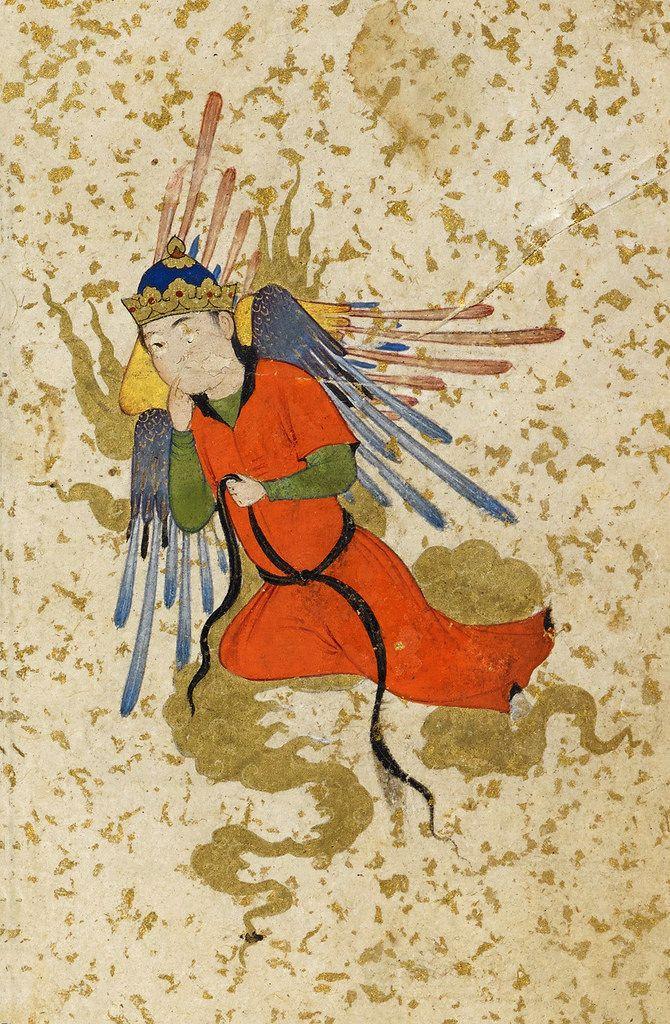 قسمتی از یک نگاره، دست نبشته ی منطق الطیر عطار نیشاپوری ، اواخر سده 15 یا آغاز سده 16 ترسایی، هرات Copy of Manṭiq al-Ṭayr, by Farīd oud-Dīn Attar of Nishapur, Late 15th century-Early 16th century, Herat