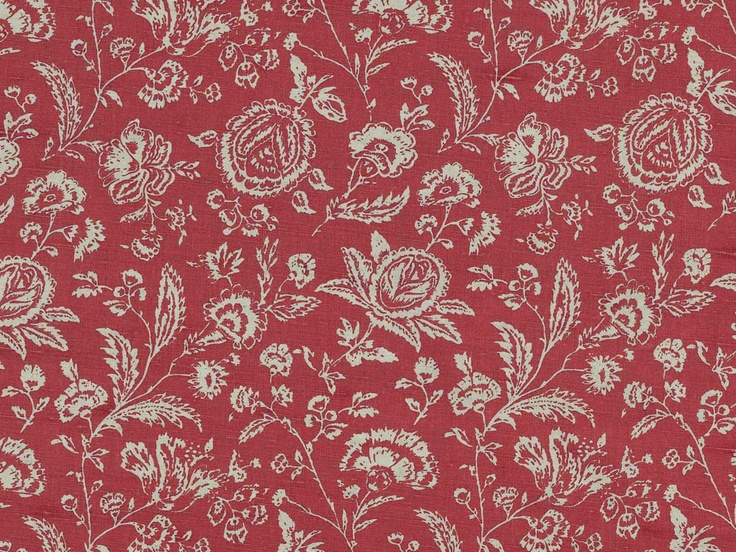 Cabbages roses french toile raspberry fabric fabrics for French toile fabric