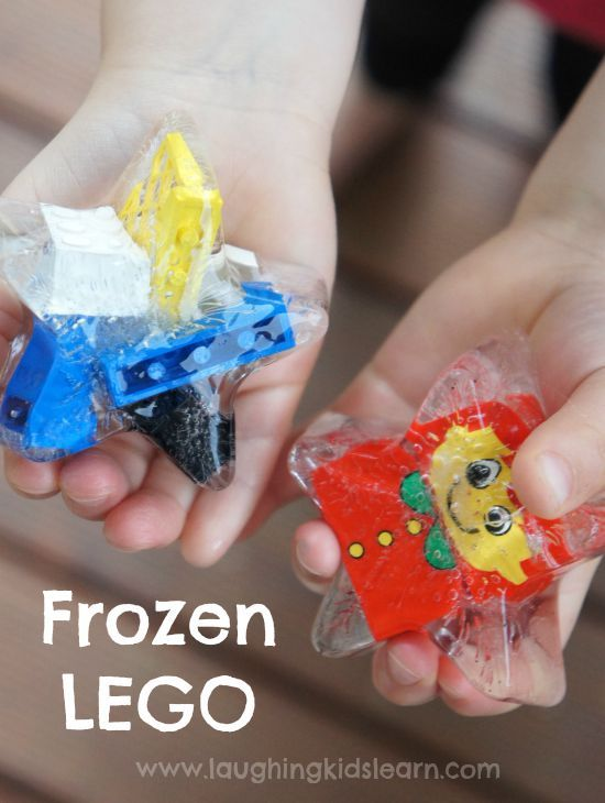 Frozen LEGO pieces in ice