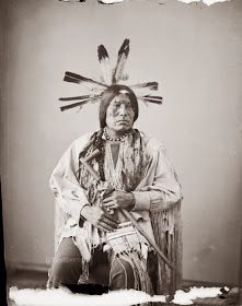 Yankton Sioux Indian Warriors and Medicine Men with Feathered Headdress