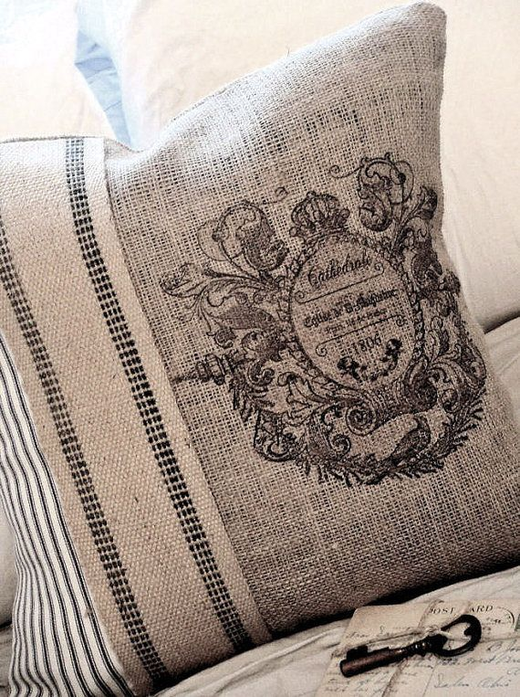 Burlap Pillow Cover with French ticking
