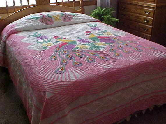 50s pink peacock cotton chenille bedspread