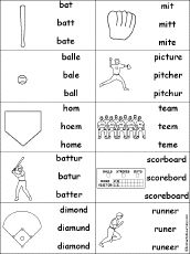 Multiple Choice Spelling - Baseball Words