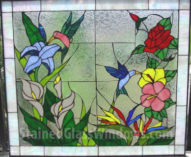 Hummingbird & Flower Paradise Leaded Stained Glass Window Panel  (Also available insulated and pre-installed in vinyl frame)