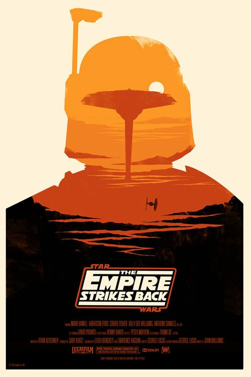 Cloud City act as Boba Fett's eyes in this amazing poster for one of my favorite films of all time. I remember walking out of Evanston theater during a matinee of Empire Strikes Back (I was like 9) and being ready to take on the world filled with inspiration.