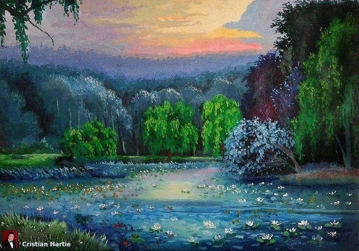 Amurg pe Lacul cu Nuferi - Ipotesti  70 x 50 cm / ulei pe panza  Pictura realizata de Cristian Hartie