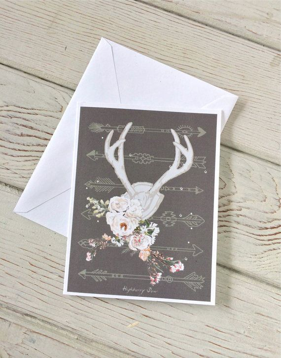 This folded note card was created from my wee watercolour originals - featuring an antler image and Navajo arrow images...   This card, from my