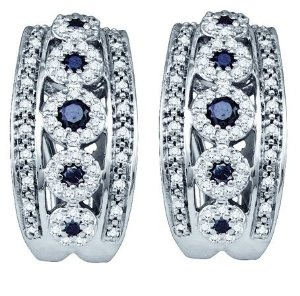 ClassicDiamondHouse  10k Yellow or White Gold Earrings Pave 0.75 ct Large Round Black Center and Full White Outline 134 All Natural Diamonds Set - Incl. ClassicDiamondHouse Free Gift Box & Cleaning Cloth  List Price: $2,628.00  Price: $876.00