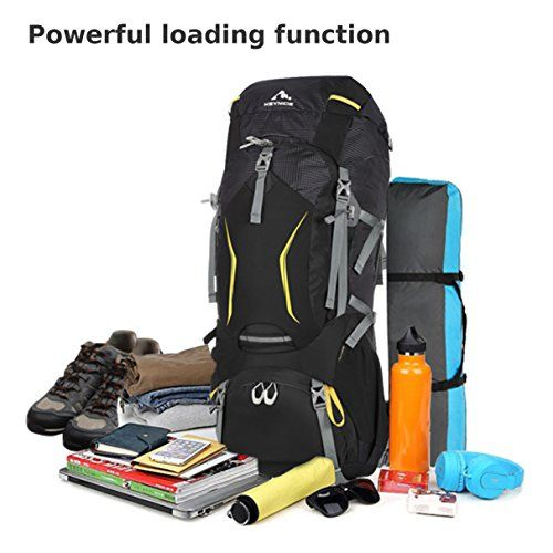 70L Sports Mountaineering Internal Frame Backpack Keynice Lightweight Water-resistant Camping Rucksacks/ Mountaineering Bag Hiking Backpack for Outdoor Sports-Black 3021