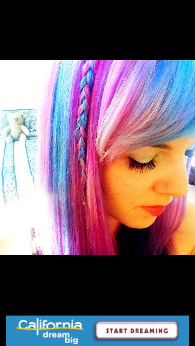 Colored hair, pastel rainbow, braid