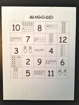 printable math games for grade 1 (found on Mme Bellefeuille's wonderful FI blog)