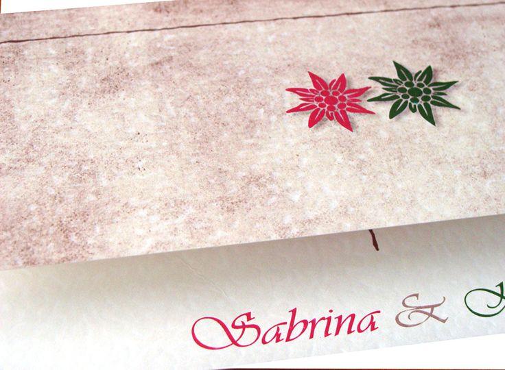 Hochzeitseinladungen Mit Edelweiß Und Im Trachten Design   Für Rustikale  Hochzeitskarten