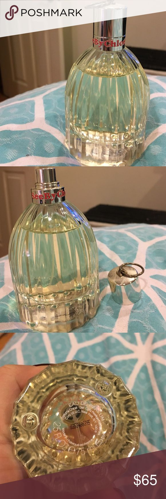 See by Chloe Perfume The large size bottle! 2.5 oz - maybe 1 or 2 spritzes ever used as you can see by the photo. I even uploaded the Sephora photo to show bottle does not come full. Eau de parfum, amazing deal- the 1 oz retails at the same price I'm selling the 2.5 for!! Chloe Makeup