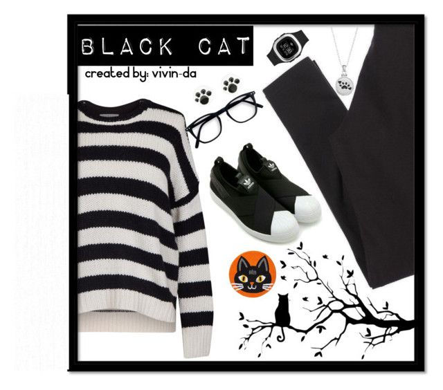 """BLACK CAT STYLE"" by vivin-da on Polyvore featuring Velvet by Graham & Spencer, American Eagle Outfitters, adidas Originals and Sentimental Expressions"