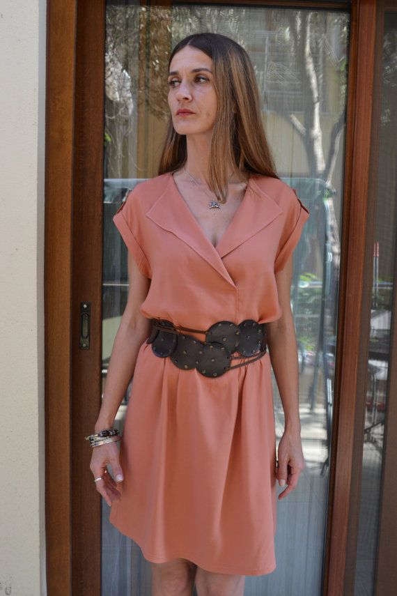Salmon Color Dress, Cotton Short Dress, Dropped Sleeve Dress, Dress with Epaulet