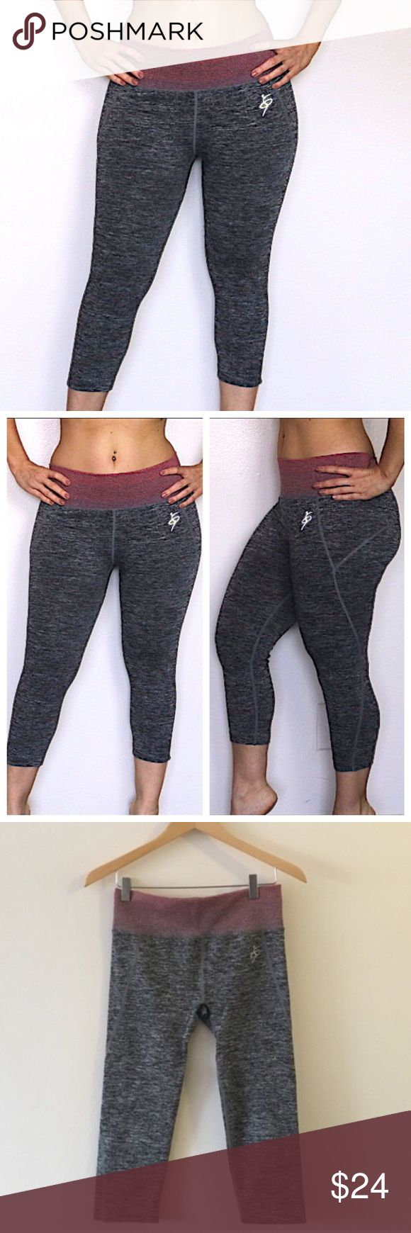 Yoga leggings New boutique yoga leggings. These grey crop leggings with a pink stripe waistband detail will get you through your toughest workout. High quality fabric is breathable and not see through. Nylon and Spandex. By Amazing Sports. New. Size small/medium. Pants Leggings