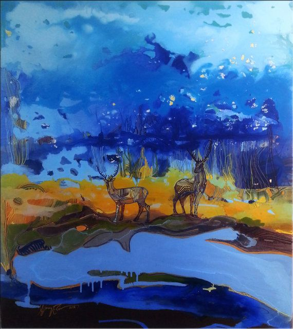 Impressionism Deer Original painting acrylic by MoonLightColorsART