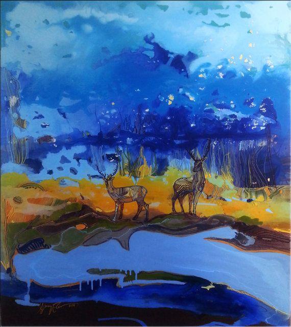 Impressionism Deer Original painting acrylic by MoonLightColorsART